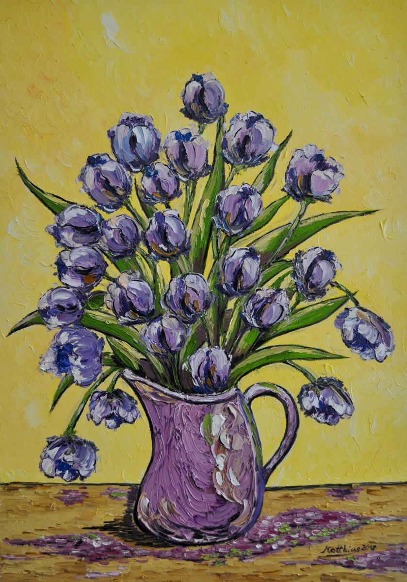 Purple Tulips in Vase  (large view)