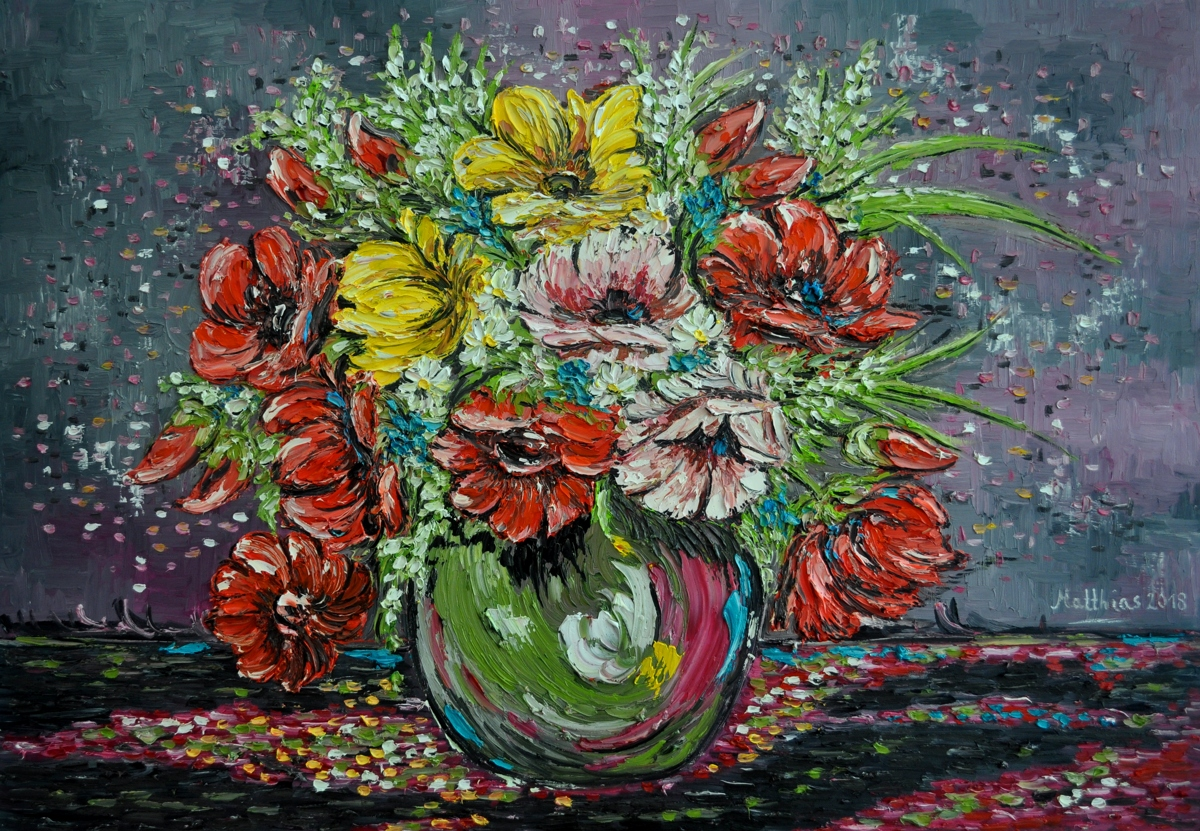 Red, Yellow and Pink Poppies in Vase  (large view)