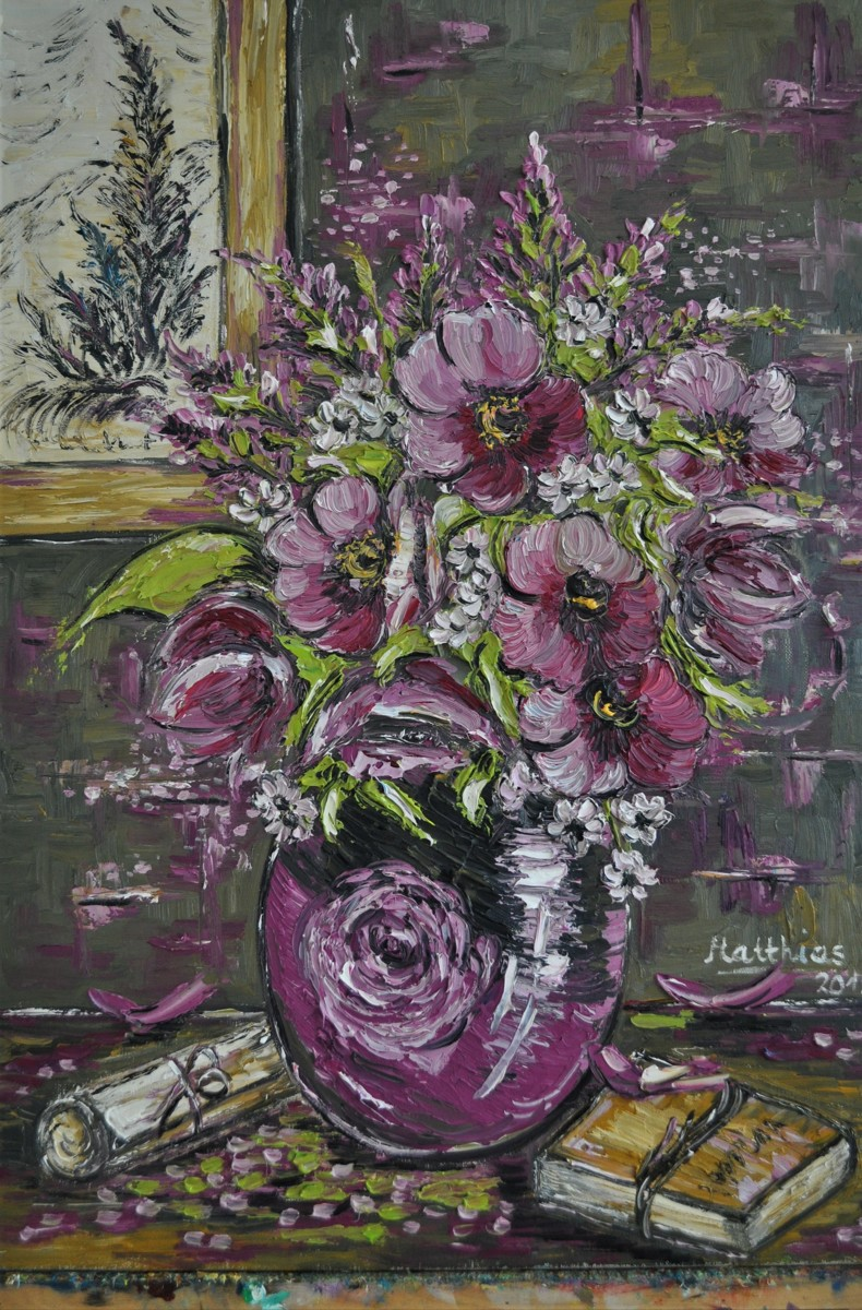 Purple Poppies in Vase  (large view)