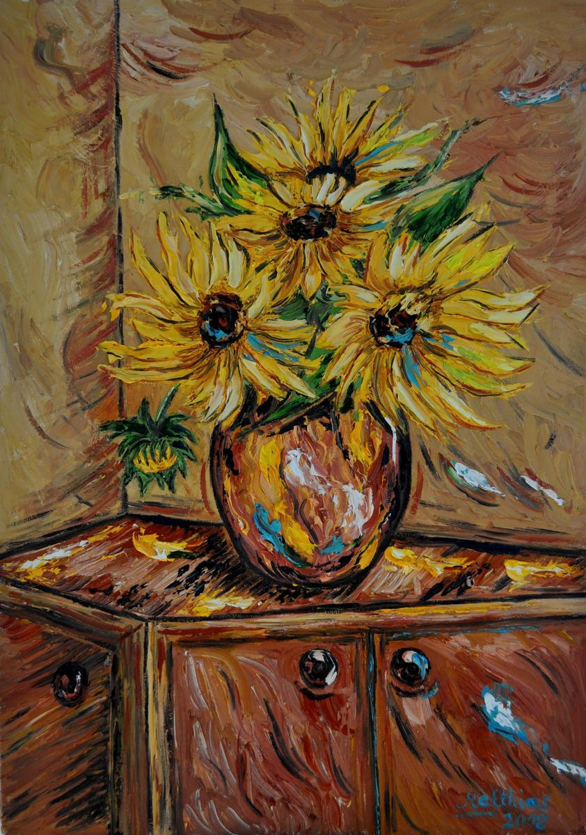 Sunflowers in Vase on brown Cabinet                    (large view)