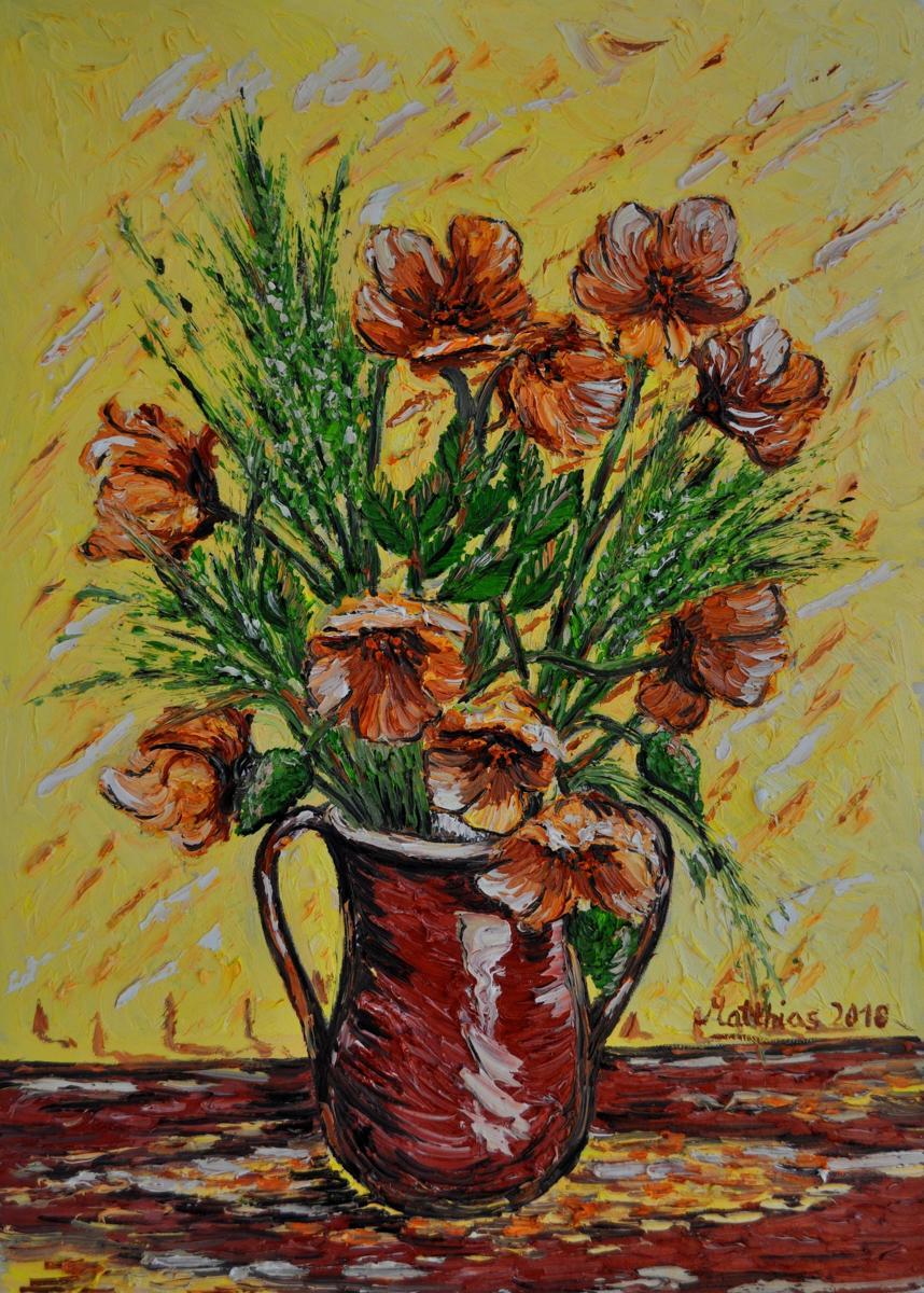 Yellow Orange Poppies in Vase                    (large view)