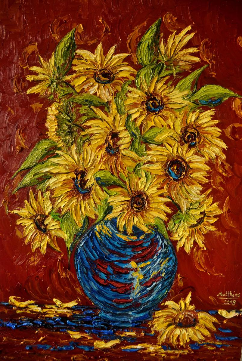Yellow Sunflowers in blue Vase or red Table                     (large view)