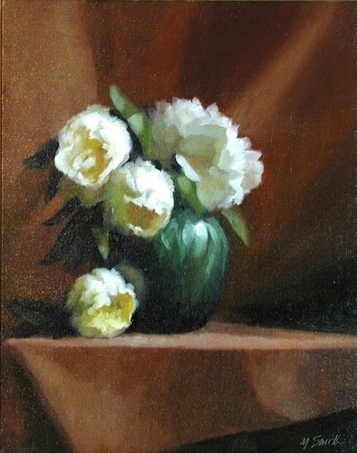 Peonies in a Green Vase