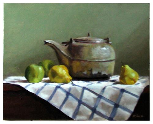 Antique Teapot with Fruit