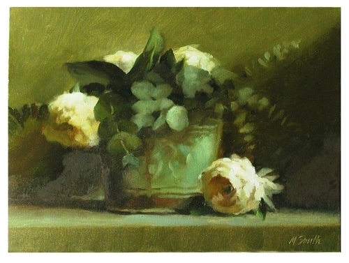 Green Can with Eucalyptus and Peonies by Murray Smith