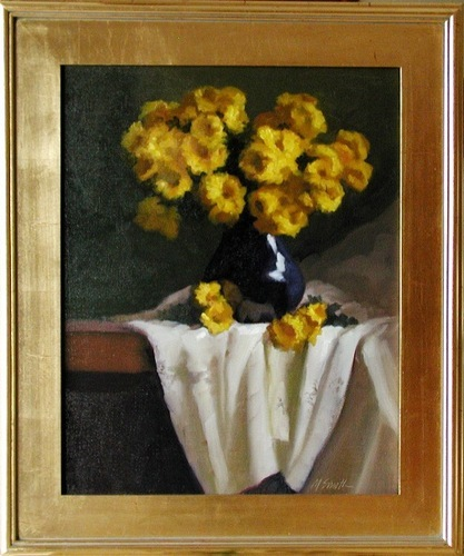 Yellow Mums in Blue Vase
