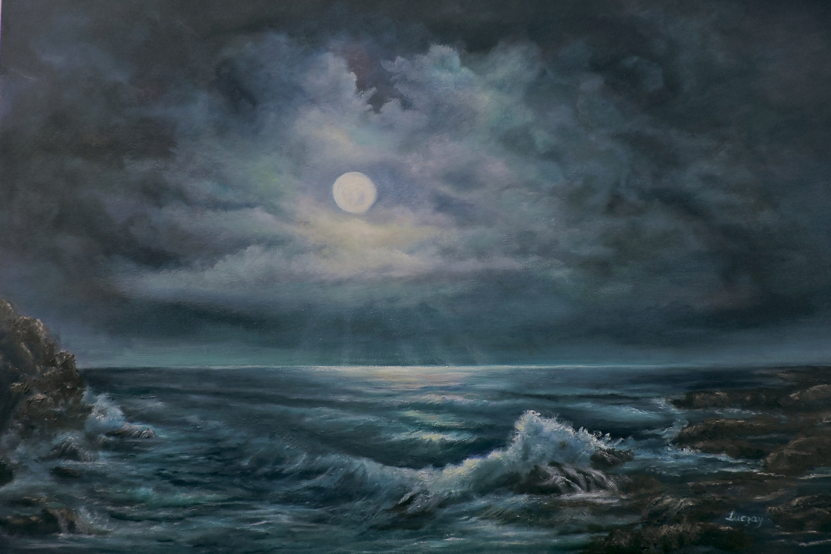 seascape moonlight by the ocean (large view)