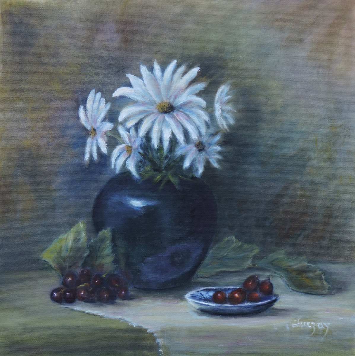 Painting of daisies in a vase (large view)