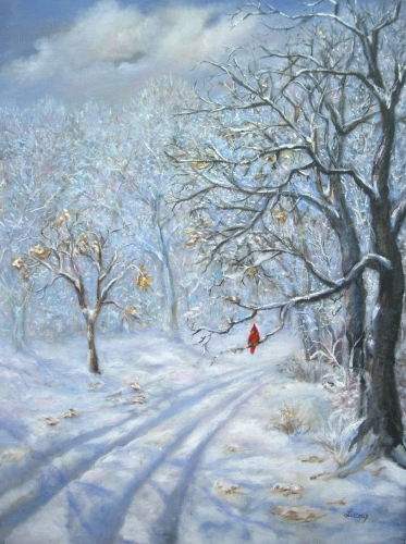 The Cardinal in Winter by Contemporary Paintings of American landscapes and seascapes  by Luczay