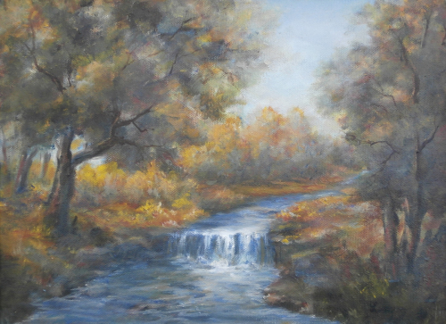 The Waterfall Landscape by Contemporary Paintings of American landscapes and seascapes  by Luczay