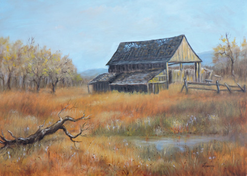 painting of an old barn