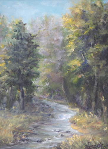 Romantic painting of trees by the brook