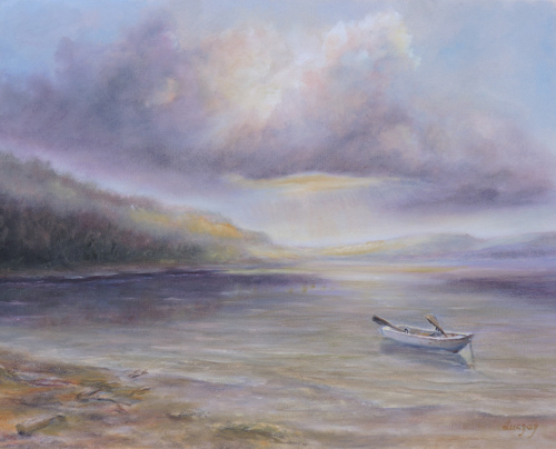 Painting of dramatic sky by inlet and boat a seascape painting