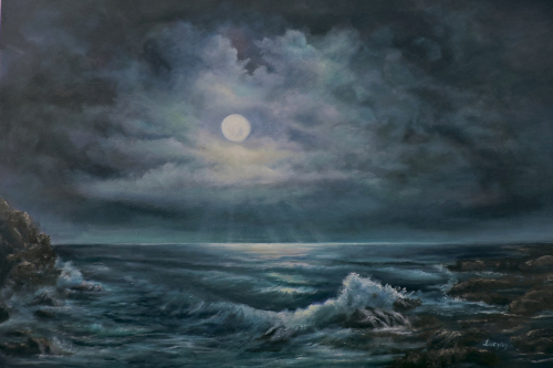 seascape moonlight by the ocean