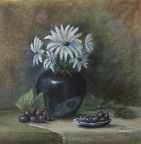 wild flowers dasies and grapes still life painting