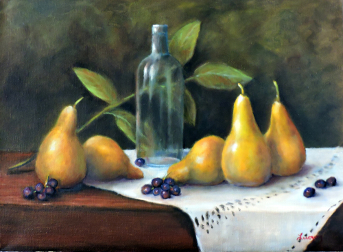 A painting of a still life with pears
