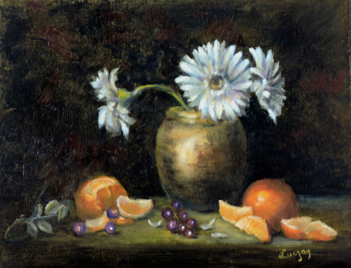 Still Life of Oranges and daisies in a vase