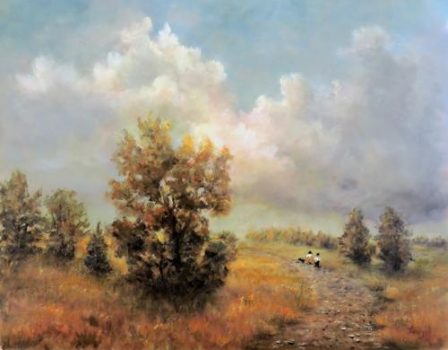 landscape walking the dog