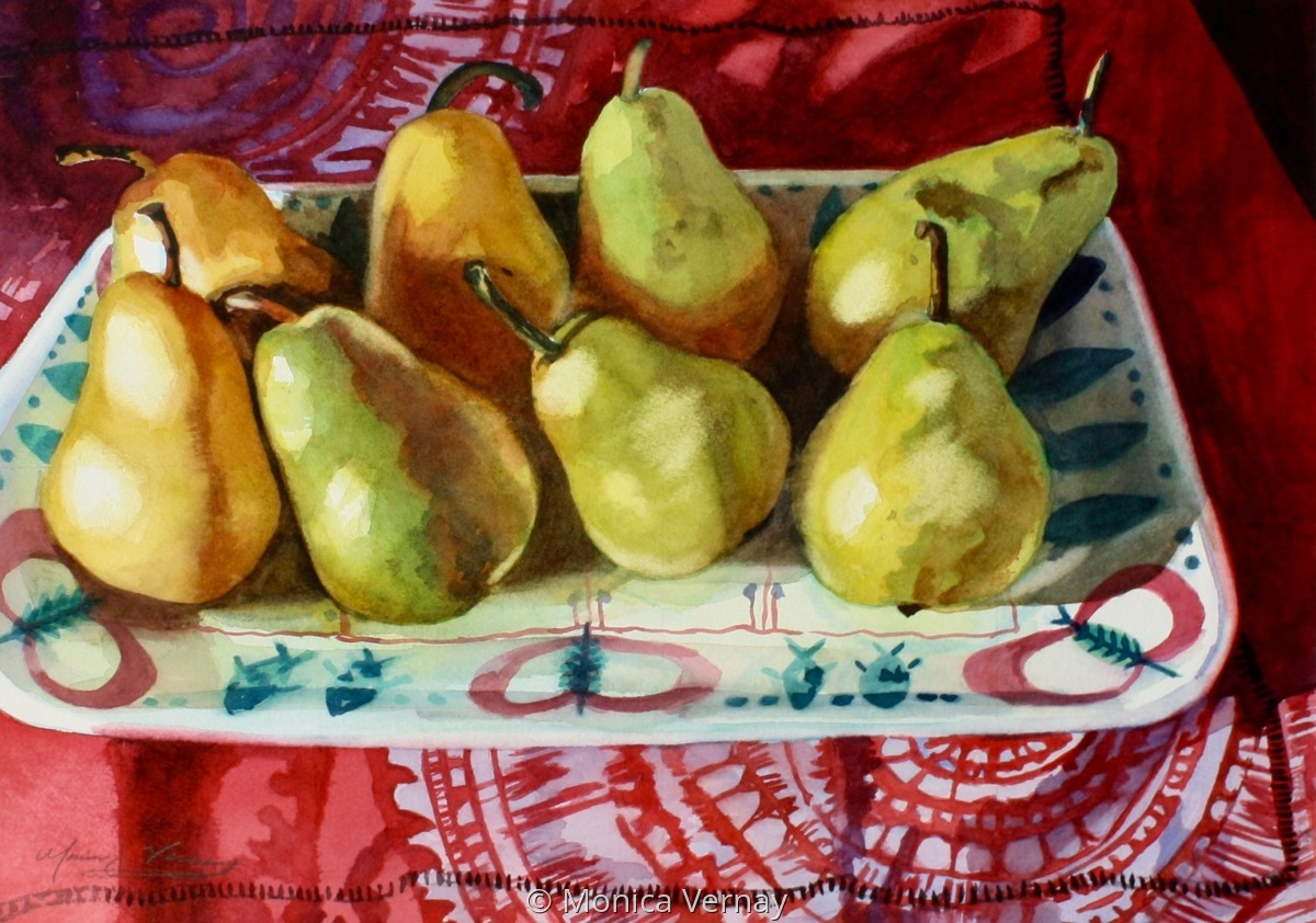 Pears in Swedish Fish Dish (large view)