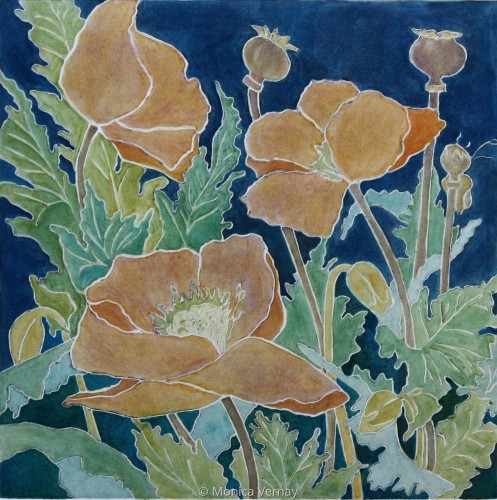 Poppies  5/25 v.e. by Monica J Vernay printmaker~watercolor painter