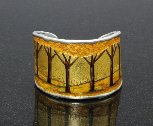 Forest Path Aluminum Cuff Bracelet by Monte Voepel