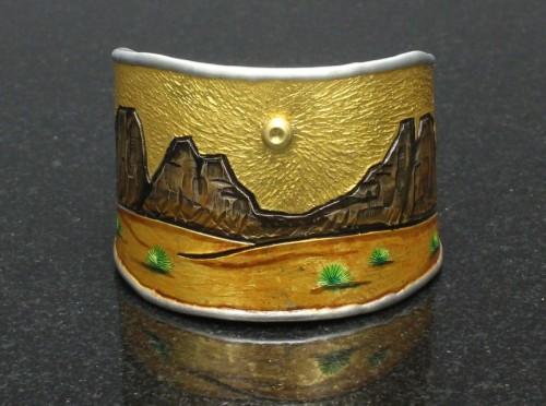 Golden Desert Landscape Cuff Bracelet