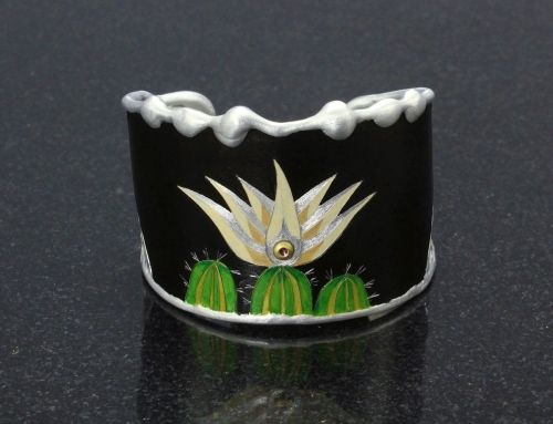 Beige Cactus in Bloom Cuff Bracelet