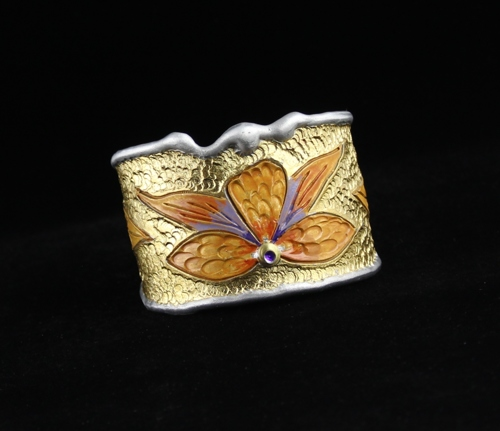 Yellow Desert Flower Cuff Bracelet