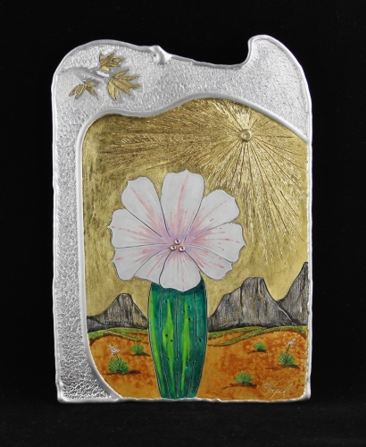 Cactus in Bloom Desert Landscape Cameo by Monte Voepel