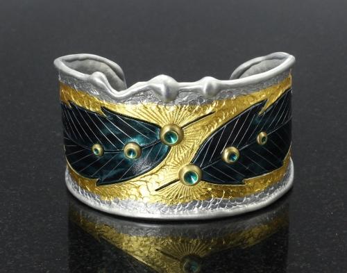 23K Gold Leaf Raven Feather Cuff Bracelet