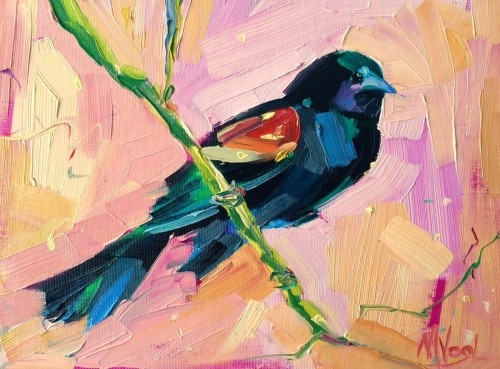 Red Winged Blackbird | oil on panel