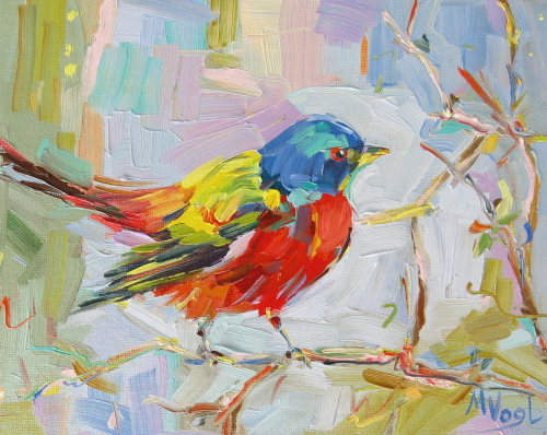 Painted Bunting | oil on panel