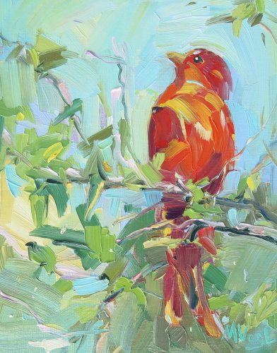 Summer Tanager | oil on panel
