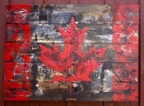 Red and Black Canadian Flag (large view)