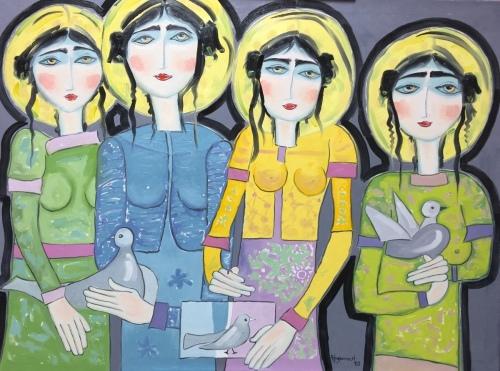 4 Girl's with Bird's