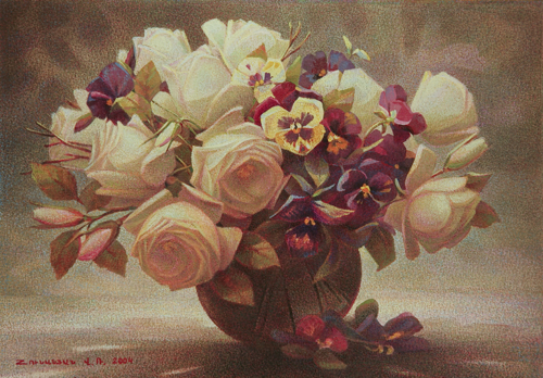 Roses with Pansies Ref#2239
