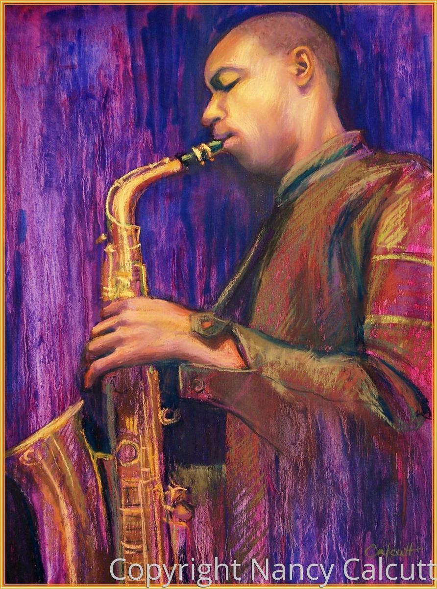 Man Playing Saxophone (large view)