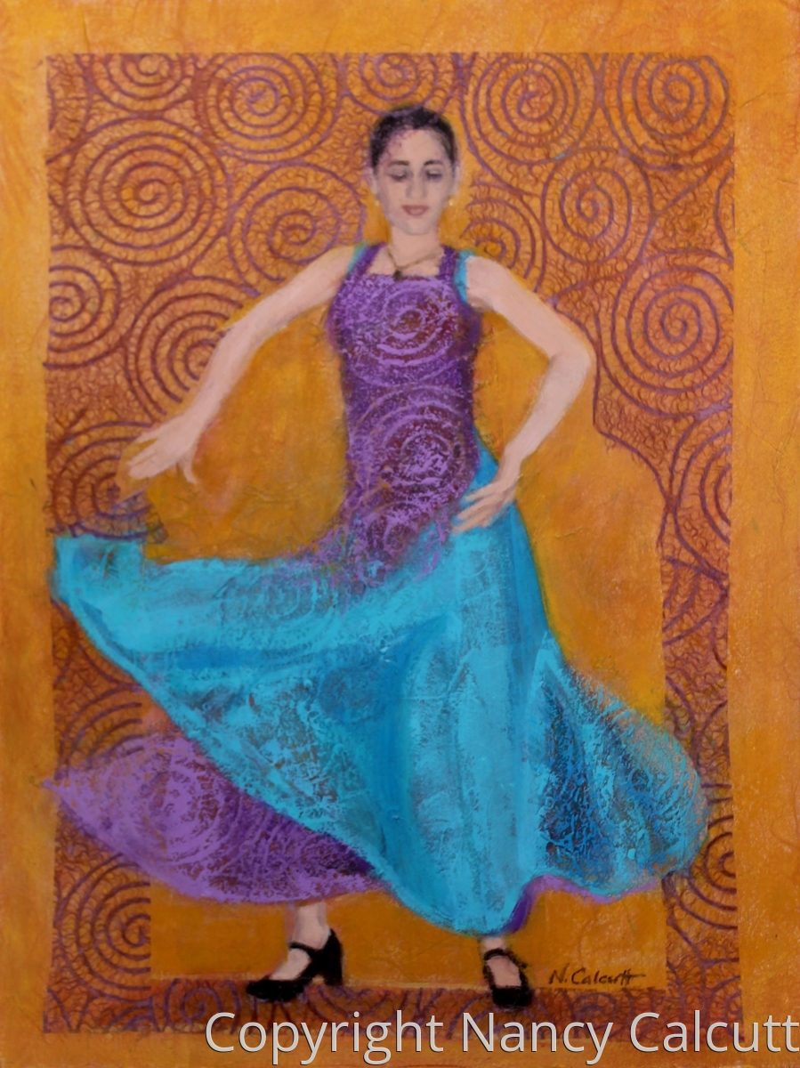 Flamenco Dancer in Purple and Turquoise (large view)