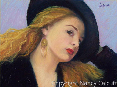 Young Woman with Black Hat