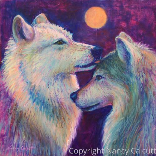 Wolf Couple Under Moonlight