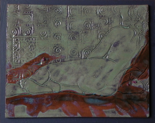 Patterned Recline, clay drawing
