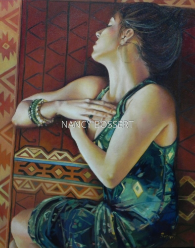 Green Dress, oil painting