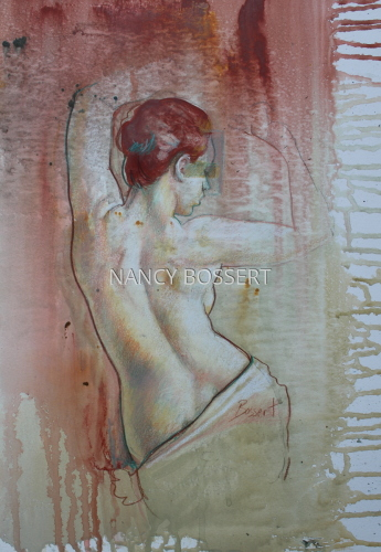 """Reach"" figurative, mixed media,painting"