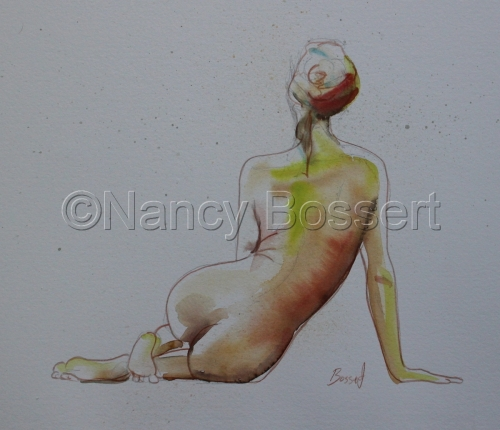 Seated Watercolor Nude