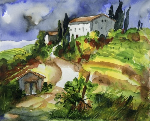 Tuscany Vineyard with White Home