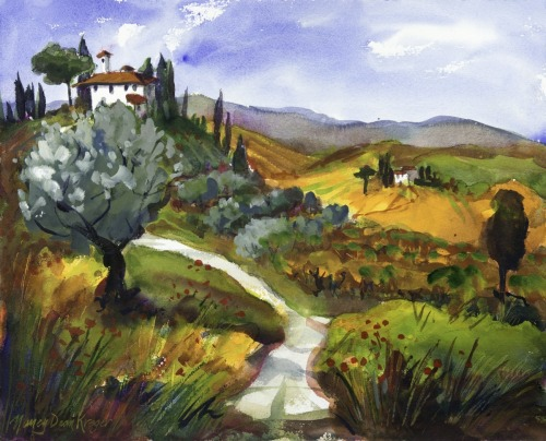 Tuscan Views with Olive Tree