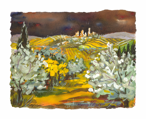 Tuscany Vineyards in Yellow & Grey