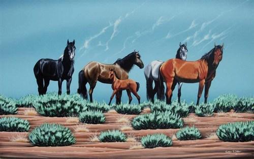 Black Mesa Mustangs by Norris M Chee