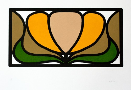 393 : Art Nouveau - Barons Court Tube Station - Stained Glass Flowerhead