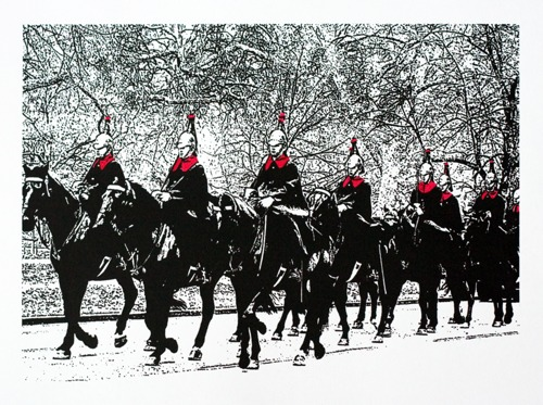 337 : London, Hyde Park - Household Cavalry in the Snow